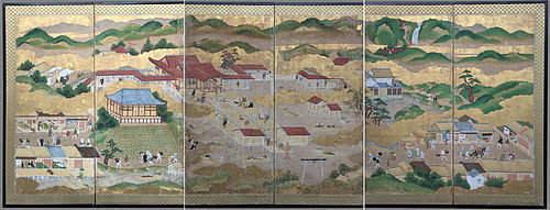Remarkable Edo Period Six-fold Screen - Itsukushima Shrine