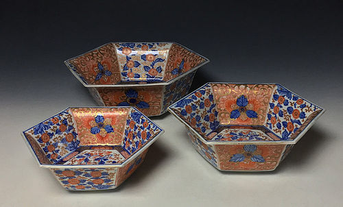 19th Century Imari Porcelain Bowl Set
