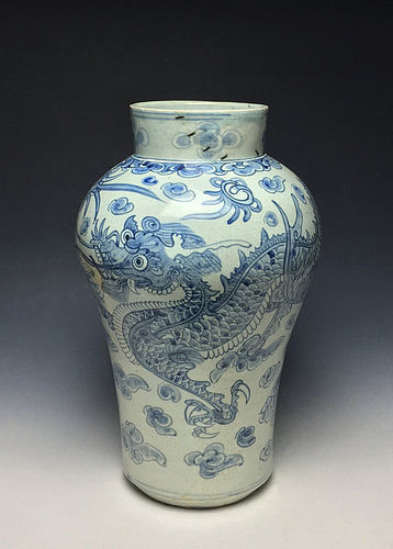 Large Korean Joseon Period Dragon Jar