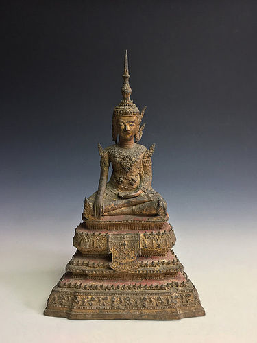 Antique Thai Rattanakosin Period Gilt Bronze Royal Buddha