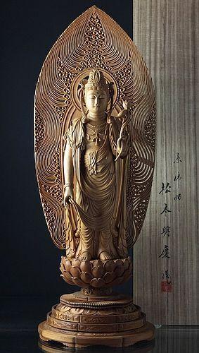 Remarkable Statue of Kannon Bodhisattva by Matsumoto Myokei