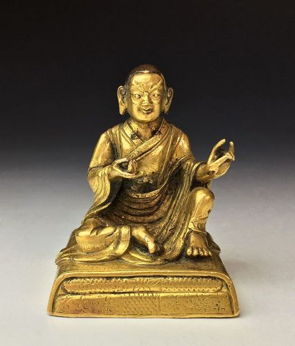 Chinese Qing Dynasty Gilt Bronze Statuette of Arhat