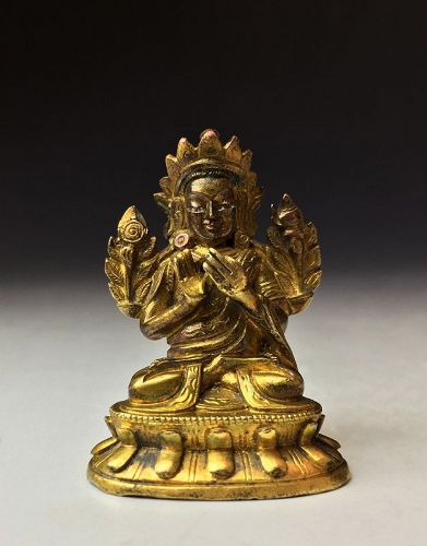 Chinese Qing Dynasty Miniature Gilt Bronze Buddha