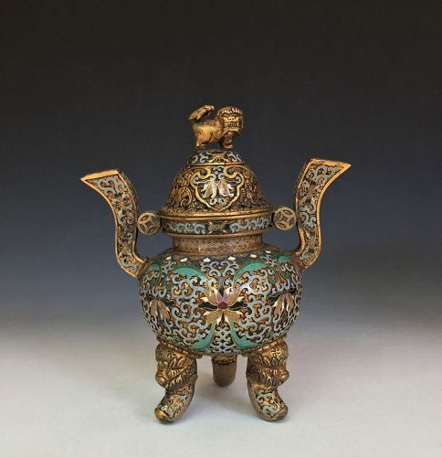Antique Chinese Cloisonné Incense Burner
