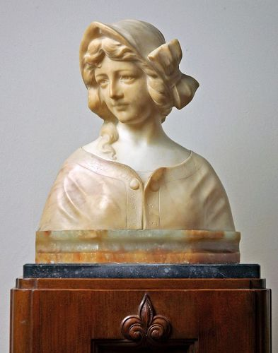 Marble Bust of Woman by Lot Torelli (1835-1896)