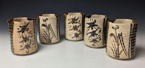 Set of Five Edo Period Shino Oribe Mukozuke