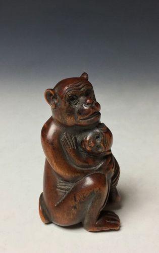 Meiji Period Wooden Netsuke signed Ryugetsu