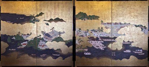 Edo Period Set of Two Two-fold Screens - Itsukushima Shrine