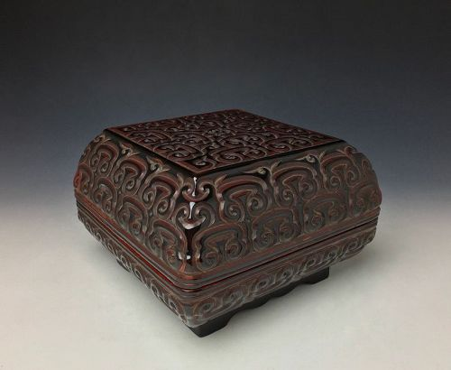 Carved Black and Red Ming Dynasty Guri Lacquer Box