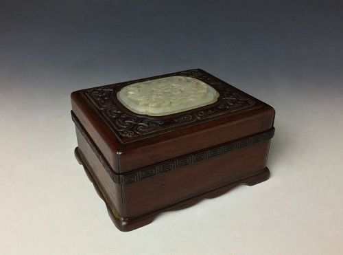 Antique Chinese Wooden Box with Jade Plaque