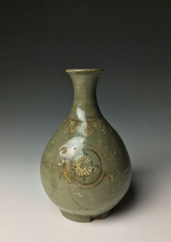 Korean Goryo Period Celadon Flask