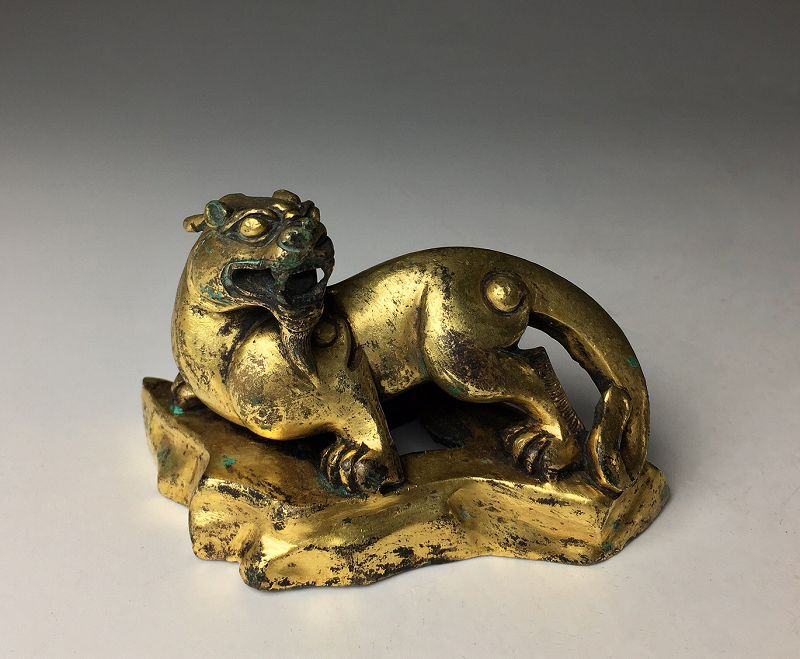 Chinese Qing Dynasty Gilt Bronze of Pixiu