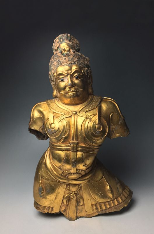 Large Chinese Qing Dynasty Gilt Bronze Bust of Immortal