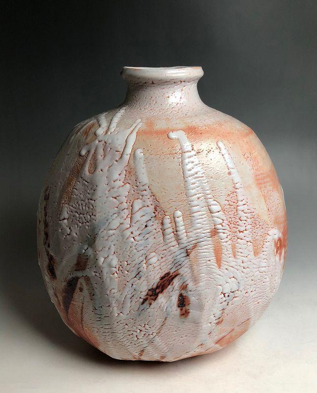 Large Shino Vase by Hayashi Shotaro