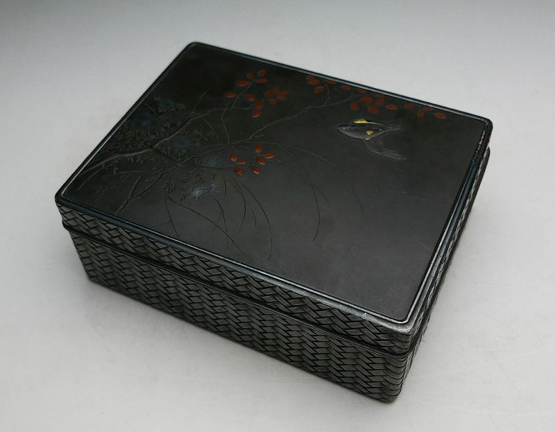 Antique Japanese Silver Box, signed
