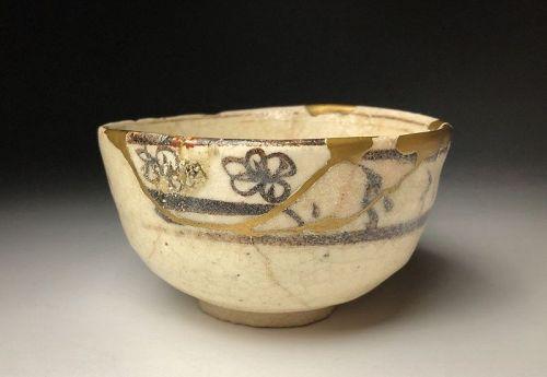 Edo Period Shino-oribe Chawan