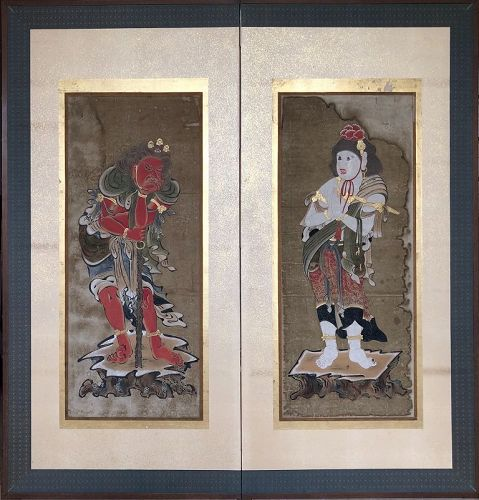Japanese Muromachi Period Painting on Twofold Screen