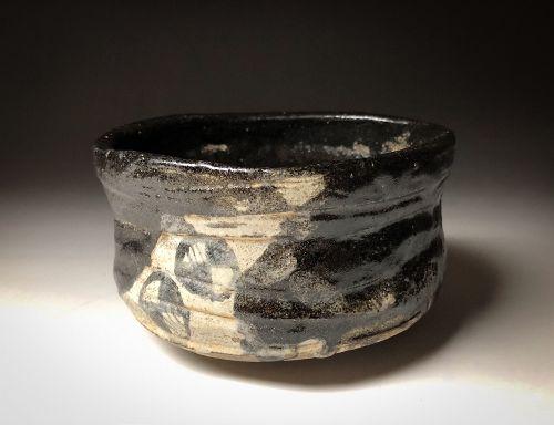 Momoyama - Edo period Kuro Oribe Kutsu Chawan