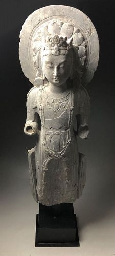 SALE - Chinese Tang Dynasty Stone Statue of Buddha (Guanyin)