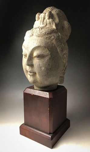 SALE - Chinese Tang Dynasty Stone Head of Guanyin