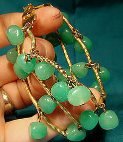 Cool GP GREEN GLASS BEAD BRACELET 1950s