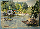 GEORGE CULLEY WATERCOLOUR PAINTING - Boathouse 1958