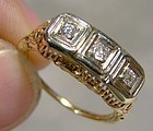 ART DECO 14K FILIGREE RING 3 DIAMONDS 1920s - Size 5-3/4