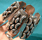 Large Art Deco SILVER PLATED BRACELET 1930 Retro Industrial