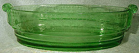 Rare FOSTORIA MANOR 2443 Etch 286 GREEN Elegant Glass Bowl 1931-1935