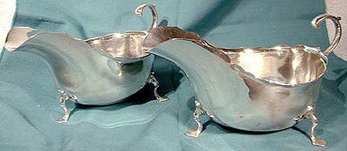 Pair ENGLISH STERLING GRAVY or SAUCE BOATS 1906