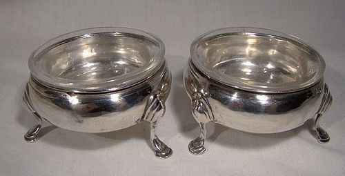 Georgian Sterling Silver Footed SALT CELLARS with LINERS London 1771