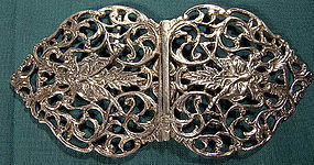 ANTIQUE SCOTTISH STERLING GREEN MAN NURSE'S BELT BUCKLE 1897