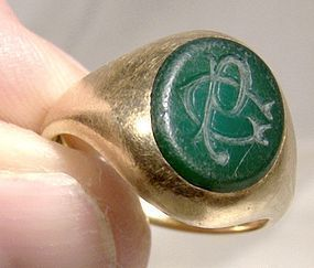 18K Gentleman's Chrysoprase Signet Seal Ring 1860