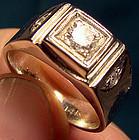 14K Diamond Man's Pinkie Ring in White Gold & Side Diamonds 1950s