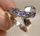 14K White Gold Tanzanites Ribbon Ring Custom Made Size 7-1/2