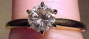 14K 45 Point DIAMOND SOLITAIRE 1960s Size 6