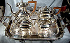 Ornate INTERNATIONAL SILVERPLATE 4 PC TEA SET & TRAY