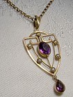 9K Rose Gold Amethyst Seed Pearls Lavaliere Pendant Necklace 1900