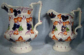 Pair ENGLISH IMARI LUSTRE JUGS c1830s