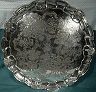 Quality 19thC MAPPIN & WEBB SP ENGRAVED FOOTED SALVER