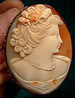Large 10K GOLD SHELL PORTRAIT CAMEO PENDANT PIN c1950s
