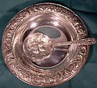 S Kirk & Sons STERLING SILVER REPOUSSE NUT BOWL with SPOON
