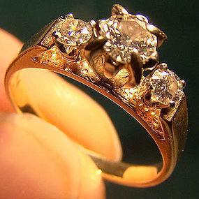 14K 3 DIAMONDS Engagement RING 1960s 14 K Size 3-3/4