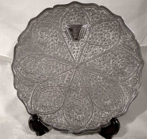 Fine INDIAN PUNCHWORK SOLID SILVER SALVER c1900