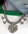 Vintage JAYFLEX STERLING & RHINESTONE NECKLACE