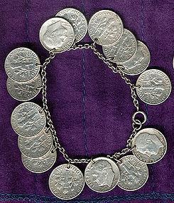 U.S. SILVER DIMES COIN CHARM BRACELET 1940s