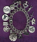 STERLING CHARM BRACELET with 16 CHARMS 1960s Double Loop Link