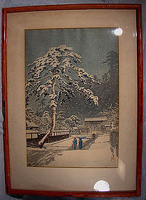 HASUI HONMONJI TEMPLE IN SNOW WOODBLOCK PRINT Lifetime