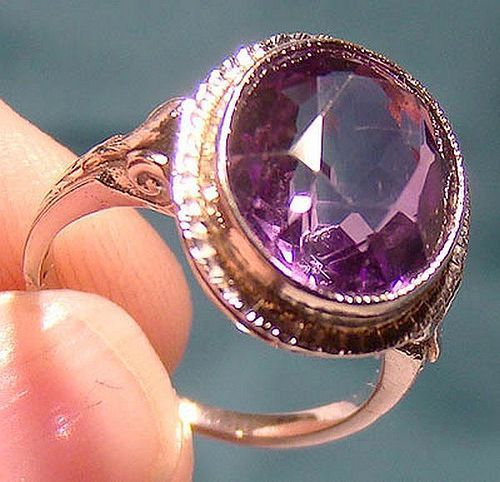 ART DECO 14K WHITE GOLD AMETHYST RING 1920s - Size 5