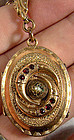 Victorian RGP GARNETS PHOTO LOCKET on Orig. BOOK CHAIN